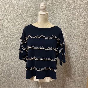 ❤️J.Crew Blue White Ruffle Boatneck Sweater XL❤️